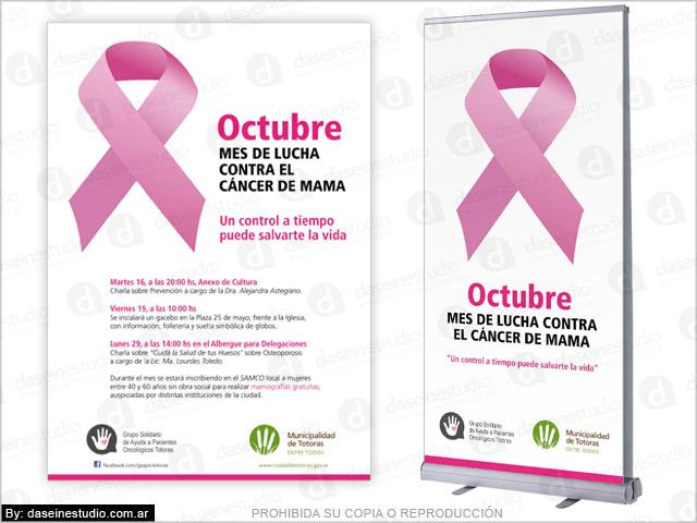Diseño de banners autoportantes para campaña de prevención Cáncer de mamas