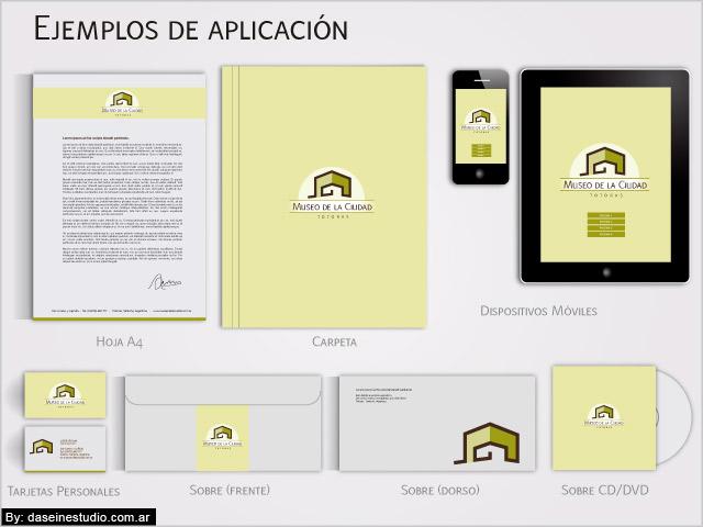 Diseño Papelería Comercial Museo de la Ciudad - Aplicación de logotipo.