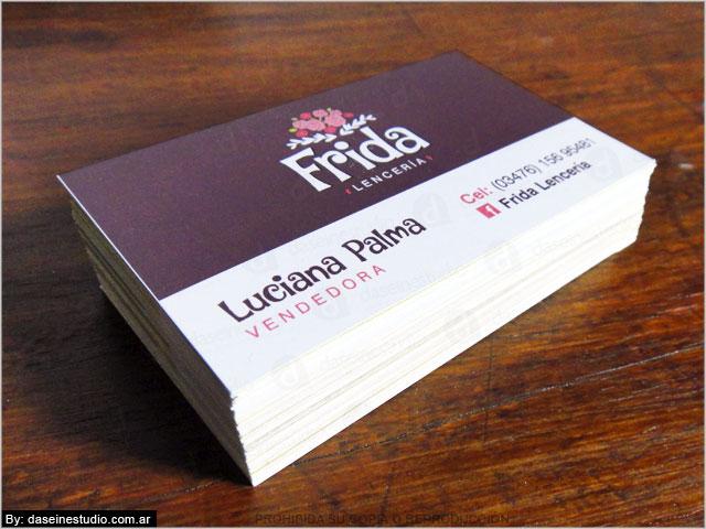 Diseño de tarjetas personales Frida Lencería