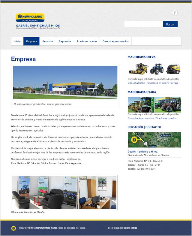 Diseño web Gabriel Santichia Concesionario New Holland - Empresa