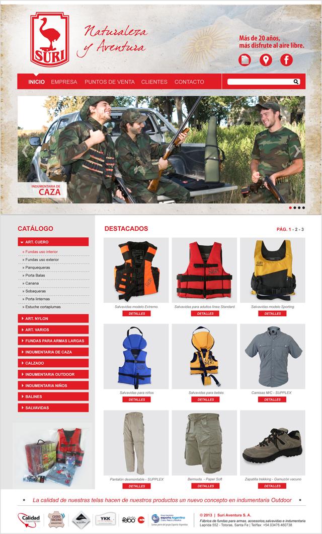 Diseño web Rosario - Fábrica de indumentaria de Caza y Outdoor - Suri: INICIO