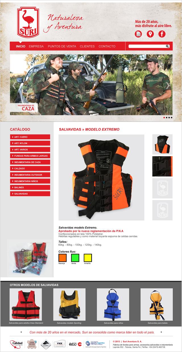 Diseño web Rosario - Fábrica de indumentaria de Caza y Outdoor - Suri: PRODUCTO
