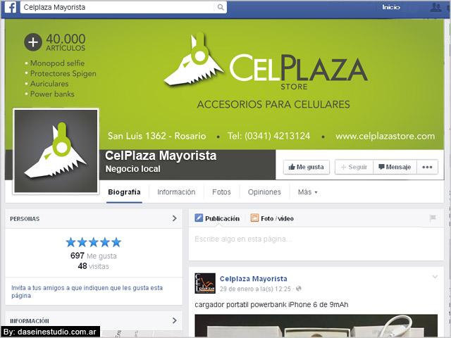 Diseño de cabecera facebook CelPlaza Store Rosario