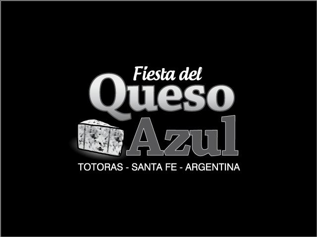 Diseño de logotipo Fiesta del Queso Azul - Blanco y negro con fondo negro: normalización de logotipo.
