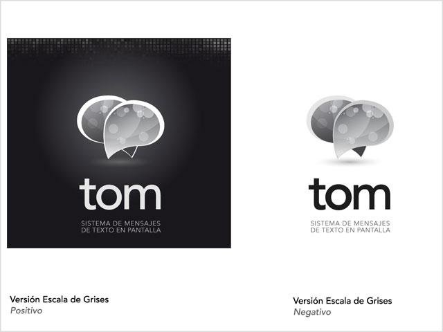 Diseño de logotipo App TOM - Variantes grises: normalización de logotipo.