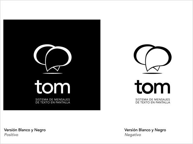 Diseño de logo Software TOM - Variantes blanco y negro