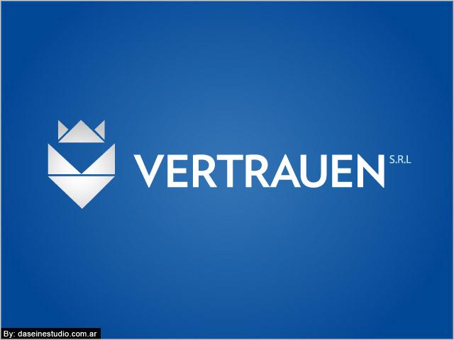 Diseño de logotipo Vertrauen SRL - Fondo azul: normalización de logotipo.