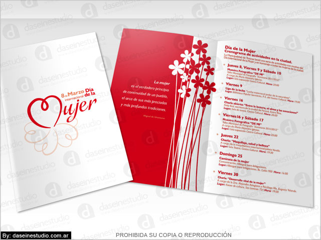 Diseño de folleto 8 de Marzo Día de la Mujer - Municipalidad de Totoras