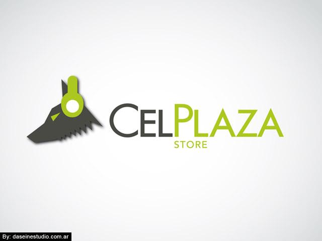 Diseño de logotipo CelPlaza Store Rosario - Color Blanco