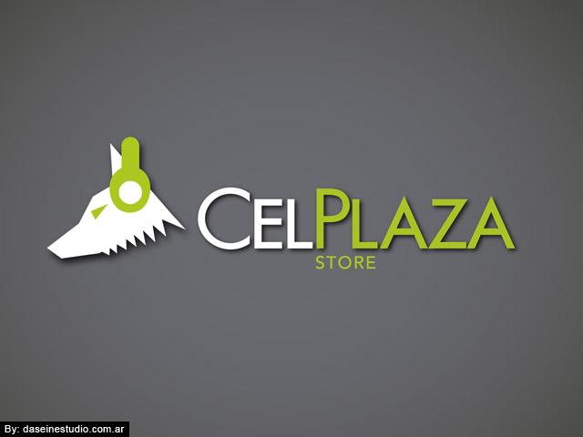 Diseño de logotipo CelPlaza Store Rosario - Color Negro