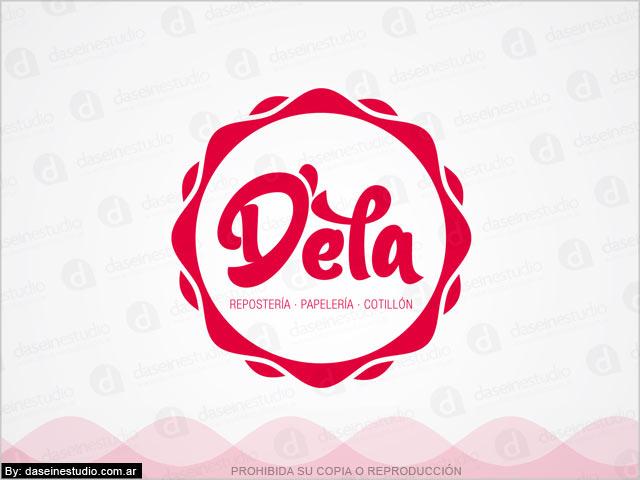 Diseño de logotipo D'ela Repostería, Papelera y Cotillón - Fondo Blanco: normalización de logotipo.