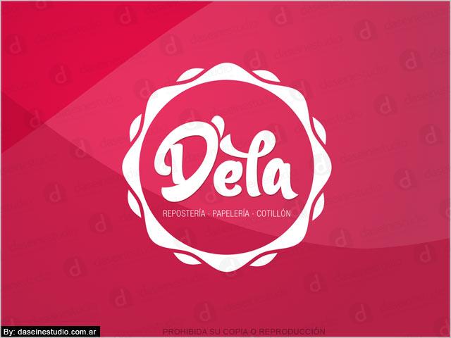 Diseño de logotipo D'ela Repostería, Papelera y Cotillón - Fondo Rojo: normalización de logotipo.