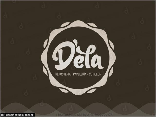 Diseño de logotipo D'ela Repostería, Papelera y Cotillón - Blanco y negro: normalización de logotipo.