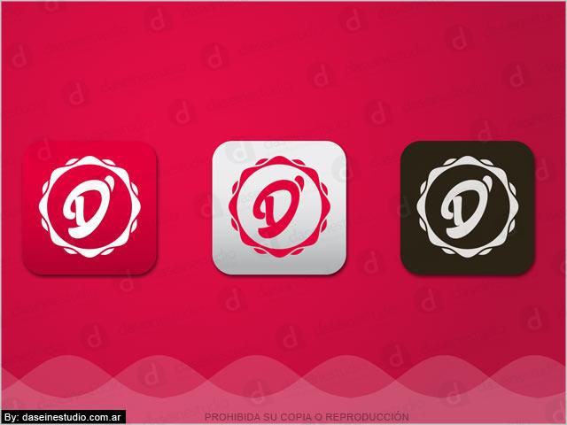 Diseño de logotipo D'ela Repostería, Papelera y Cotillón - Íconos para redes sociales.