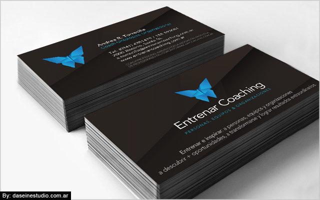 Diseño de tarjetas personales Entrenar Coaching Rosario