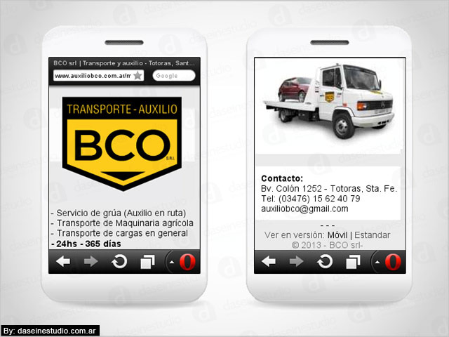 Diseño web para celulares BCO Transporte y Auxilio