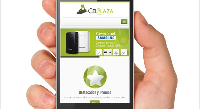 Diseño web responsive CelPlaza Store Rosario - Vista en SmartPhone