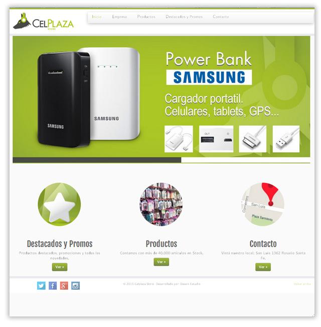 Diseño web responsive CelPlaza Store Rosario - Sección Inicio