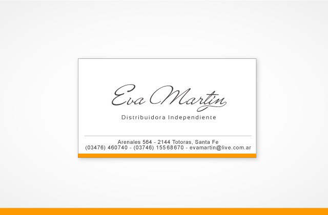 Diseño de tarjeta personal: Eva Martín | Distribuidora