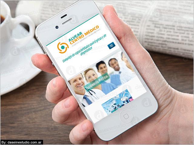 Diseño web responsive Rosario Alvear Centro Medico - vista en SmartPhone