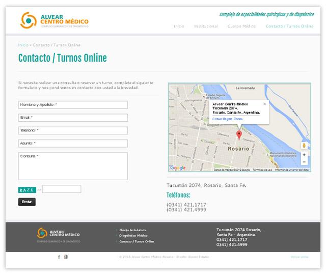 Diseño web responsive Rosario Alvear Centro Medico - Sección Contacto