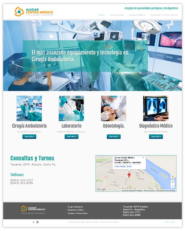 Diseño web responsive Rosario Alvear Centro Medico - Sección Inicio