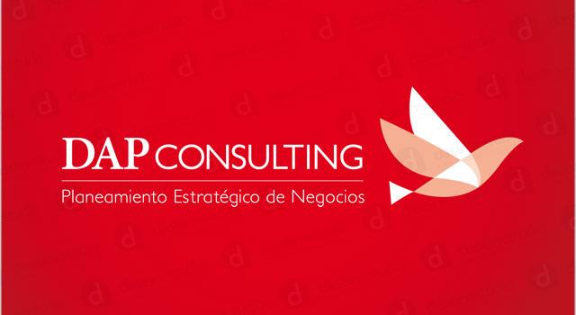 Rediseño de logotipo DAP Consulting Buenos Aires - Versión primaria fondo rojo