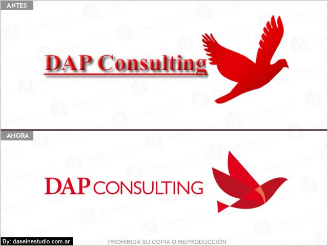 Rediseño de logotipo DAP Consulting Buenos Aires - Antes y después