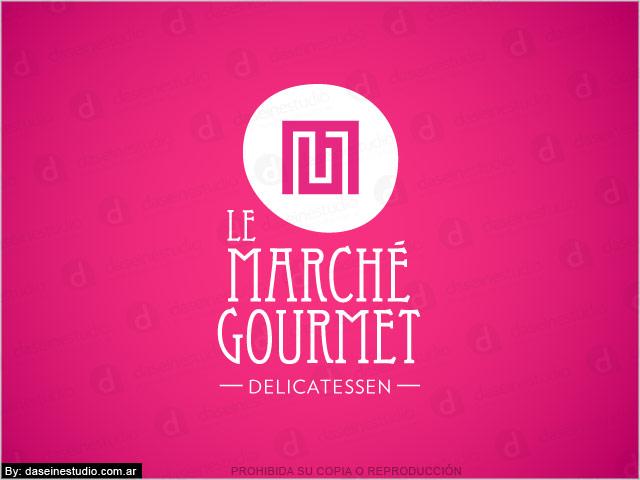 Diseño de logotipo Le Marché Gourmet - Berazategui Buenos Aires - Fondo fucsia: normalización de logotipo.