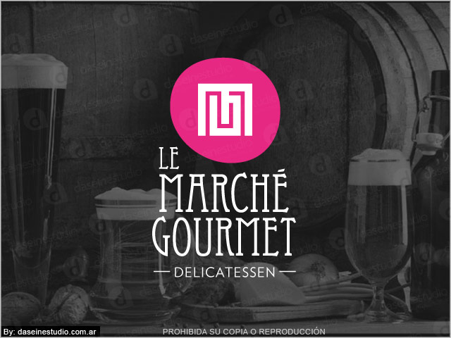 Diseño de logotipo Le Marché Gourmet - Berazategui Buenos Aires - Fondo negro: normalización de logotipo.