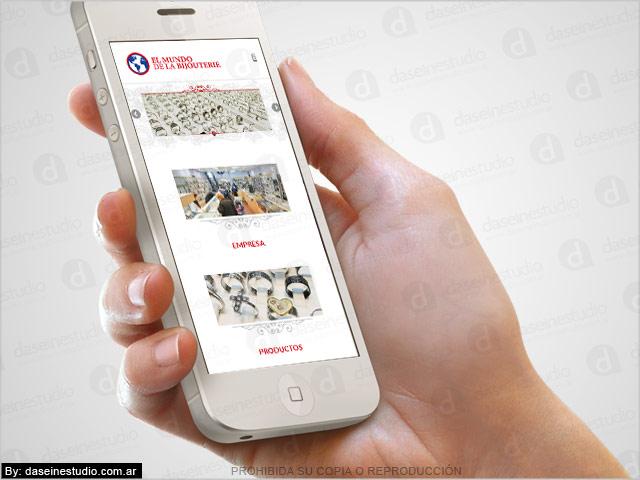 Diseño web responsive Bijouterie - Vista en teléfono celular SmartPhone