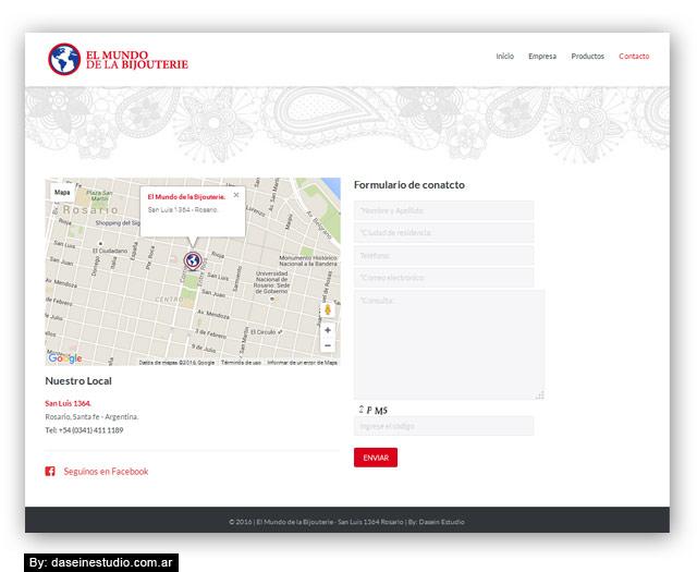 Diseño web responsive Bijouterie - Contacto