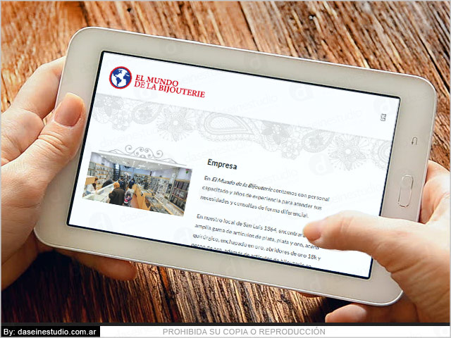 Diseño web responsive Bijouterie - Vista en Tablet