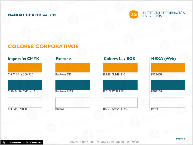 Manual de normalización de logotipo IFG FEFARA Buenos Aires - Normalización de colores.