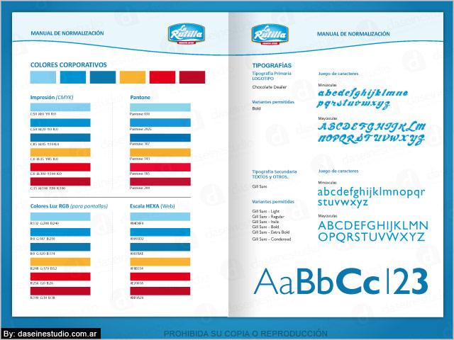 Diseño de Logotipo La Rutilla Productos Lácteos - Santiago del Estero - Manual de Aplicación