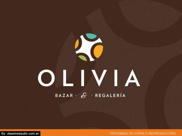 Diseño de logotipo bazar y regaleria Olivia - Fondo marrón