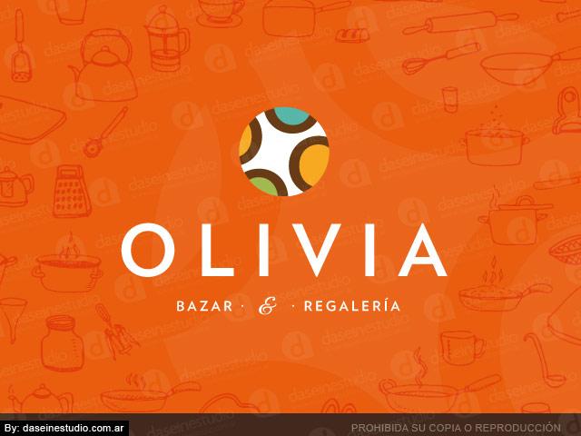 Diseño de logotipo bazar y regaleria Olivia - Fondo Naranja