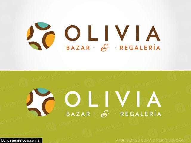 Diseño de logotipo bazar y regaleria Olivia - Variantes color