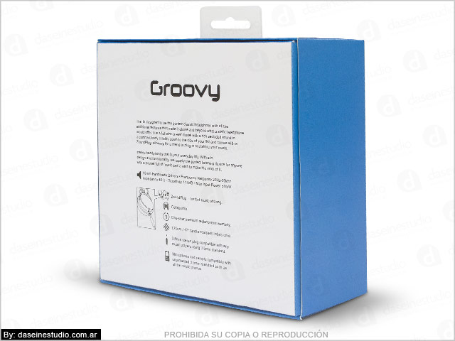 Diseño de packaging para auriculares Rosario - Dorso Caja modelo 2