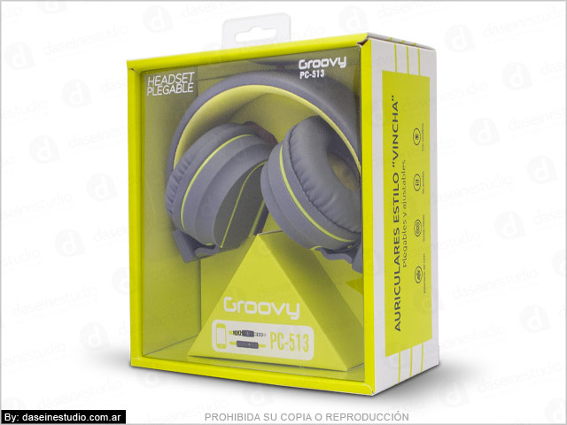 Diseño de packaging para auriculares Rosario - Caja con ventana