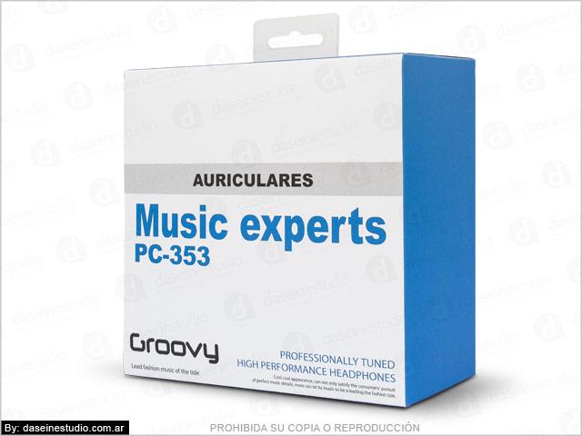 Diseño de packaging para auriculares Rosario - Frente Caja modelo 2