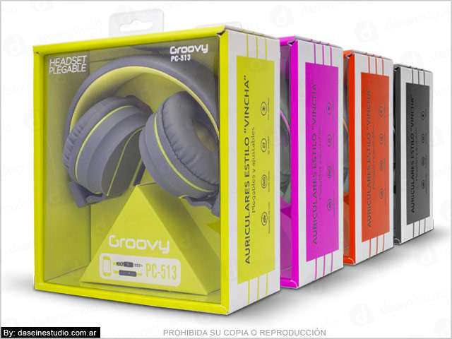 Línea de cajas para auriculares con ventana - Diseño de packaging Rosario