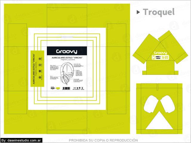 Diseño de packaging para auriculares Rosario - Troquel caja con ventana