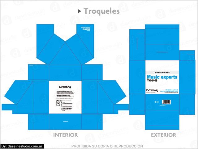 Diseño de packaging para auriculares Rosario - Troquel Caja modelo 2