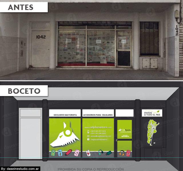 Diseño de vidriera en Rosario - local Mitre 1042 - Antes y después