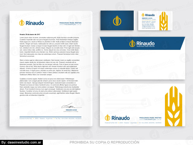 Diseño de Papelería Comercial: Fábrica de Máquinas para Pastas Rosario