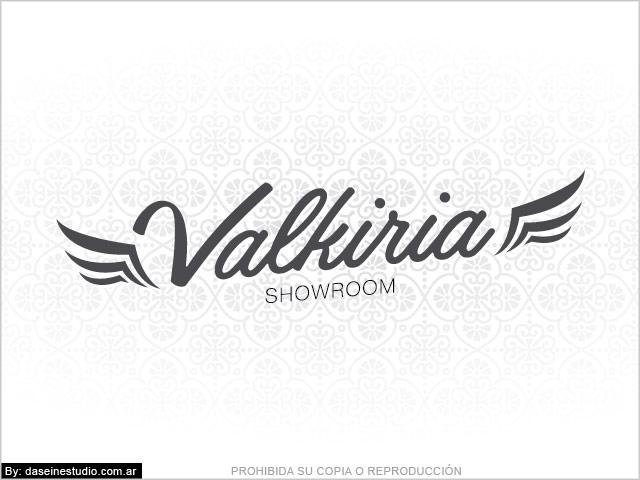 Diseño de Logotipo Valkiria: Showroom Indumentaria Femenina - Fondo blanco: normalización de logotipo.