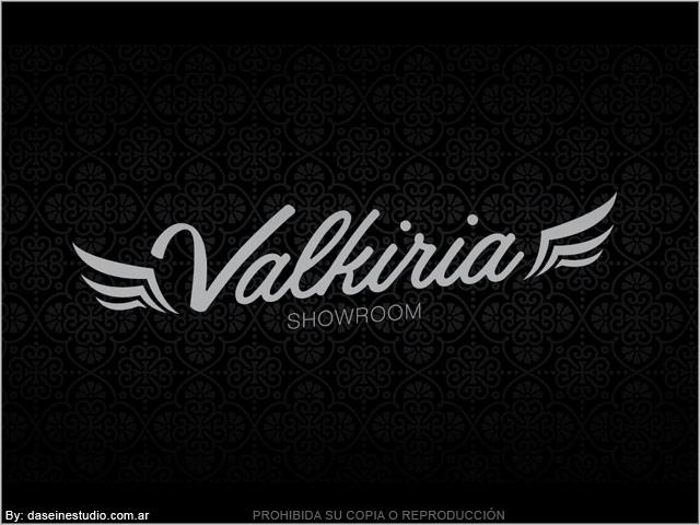 Diseño de Logotipo Valkiria: Showroom Indumentaria Femenina - Fondo negro: normalización de logotipo.