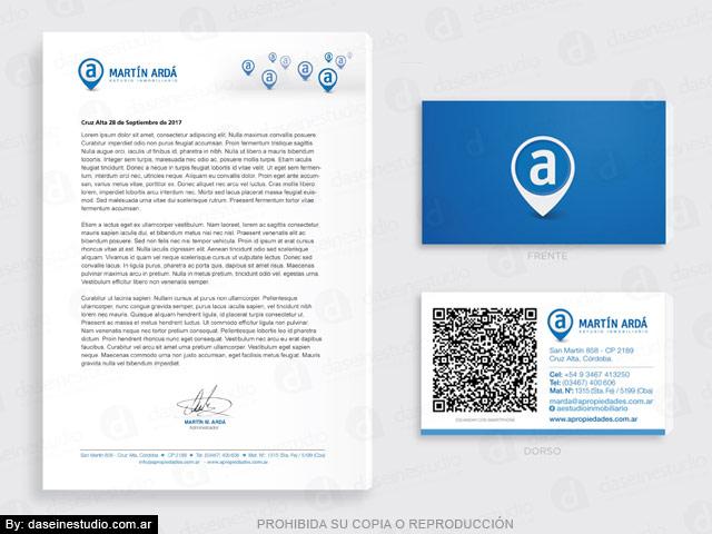 Diseño de hoja A4 membrete y Tarjeta personal con QR code - Inmobiliaria Córdoba