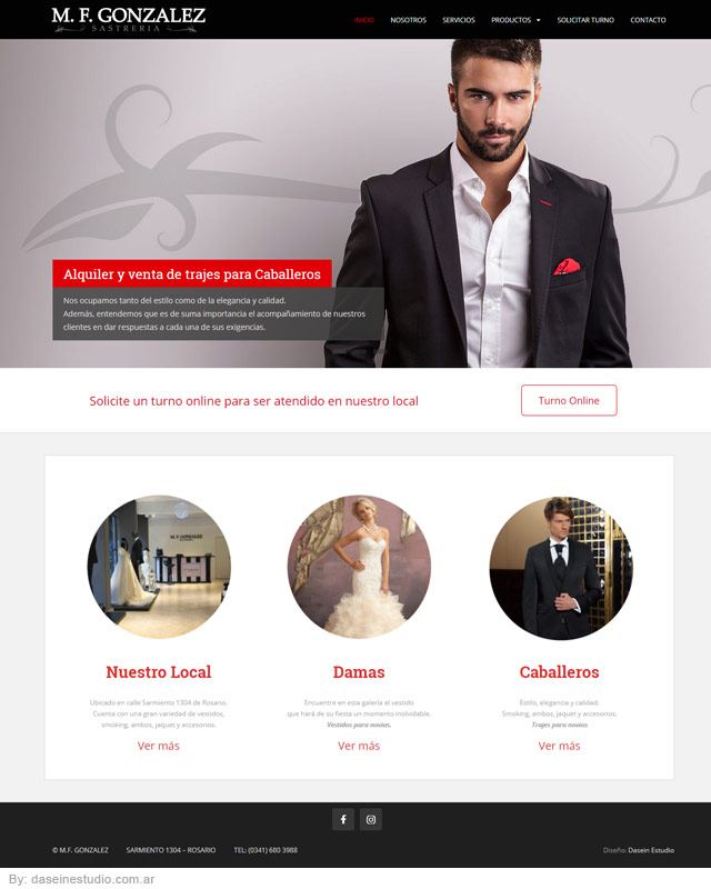 Diseño web Rosario - Sastrería Vestidos y Trajes para novios - Sección Inicio